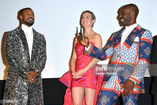 """Michael B. Jordan, Brie Larson and Rob Morgan attend the """"Just Mercy"""" premiere during the 2019 Toronto International Film Festival at Roy Thomson..."""