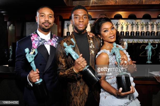 Michael B. Jordan, Chadwick Boseman and Angela Bassett attend the 25th Annual Screen Actors Guild Awards at The Shrine Auditorium on January 27, 2019...