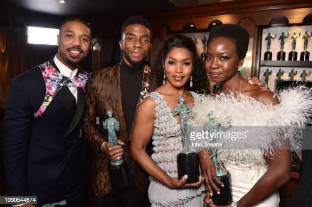 Michael B. Jordan, Chadwick Boseman, Angela Bassett, and Danai Gurira, winners of Outstanding Performance by a Cast in a Motion Picture for 'Black...