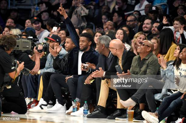 Michael B Jordan Chadwick Boseman Common Dave Chappelle and Elaine Chappelle attend the 67th NBA AllStar Game Team LeBron Vs Team Stephen at Staples...