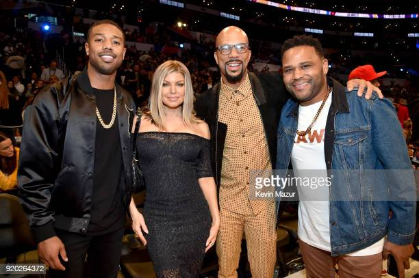 Michael B Jordan Fergie Common and Anthony Anderson attend the 67th NBA AllStar Game Team LeBron Vs Team Stephen at Staples Center on February 18...
