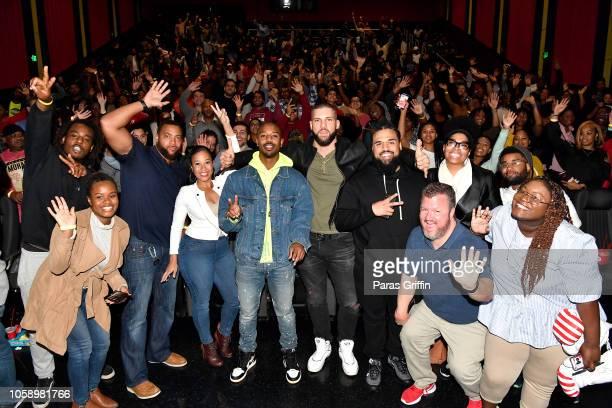 Michael B Jordan Florian Munteanu and Director Steven Caple Jr pose with moviegoers during the Creed 2 Atlanta screening at Regal Atlantic Station on...