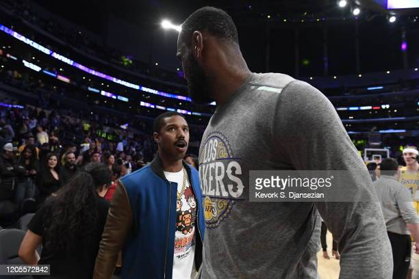 Michael B Jordan greets LeBron James of the Los Angeles Lakers after the basketball game against Milwaukee Bucks at Staples Center on March 6 2020 in...