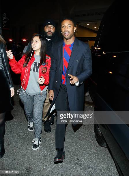 Michael B Jordan is seen outside the Calvin Klein show at the American Stock Exchange during New York Fashion Week at on February 13 2018 in New York...