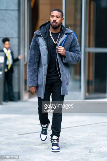 Michael B Jordan is seen wearing Coach in Chelsea on November 17 2019 in New York City