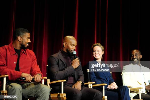 Michael B Jordan Jamie Foxx Brie Larson and Rob Morgan attend Warner Bros Hosts A Special Screening Of Just Mercy at DGA Theater on September 8 2019...