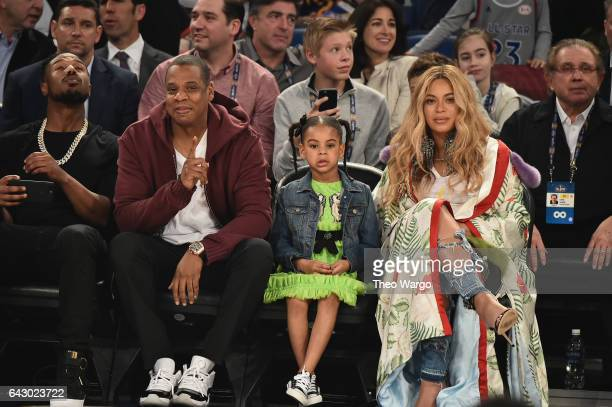 Michael B Jordan Jay Z Blue Ivy Carter and Beyoncé Knowles attend the 66th NBA AllStar Game at Smoothie King Center on February 19 2017 in New...