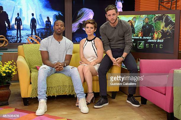 "Michael B. Jordan, Kate Mara and Jamie Bell are seen during The Set Of Despierta America to promote the film ""Fantastic Four""at Univision Studios on..."