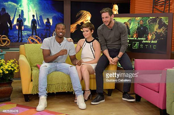 Michael B Jordan Kate Mara and Jamie Bell are seen during The Set Of Despierta America to promote the film Fantastic Fourat Univision Studios on July...