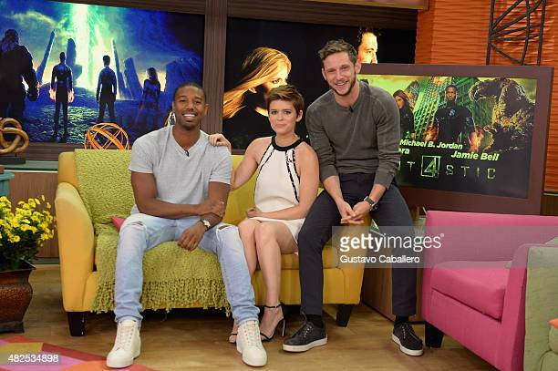 "Michael B. Jordan, Kate Mara and Jamie Bell are seen on the set of Despierta America to promote the film ""Fantastic Four""at Univision Studios on July..."