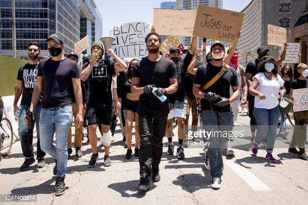 Michael B Jordan Kendrick Sampson and others participate in the Hollywood talent agencies march to support Black Lives Matter protests on June 06...