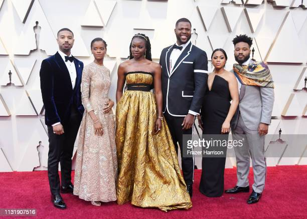 Michael B Jordan Letitia Wright Danai Gurira and Winston Duke attend the 91st Annual Academy Awards at Hollywood and Highland on February 24 2019 in...