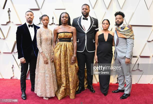Michael B Jordan Letitia Wright Danai Gurira Winston Duke Zinzi Evans and Ryan Coogler attend the 91st Annual Academy Awards at Hollywood and...