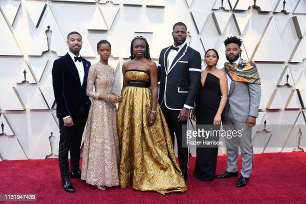 Michael B Jordan Letitia Wright Danai Gurira Winston Duke Zinzi Evans and Ryan Coogler attends the 91st Annual Academy Awards at Hollywood and...