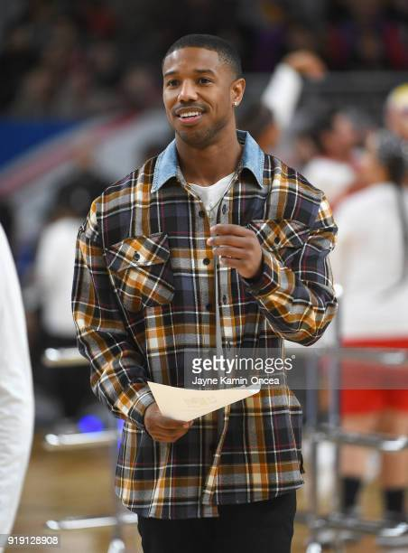 Michael B Jordan looks on during warmup prior to the 2018 NBA AllStar Game Celebrity Game at Los Angeles Convention Center on February 16 2018 in Los...