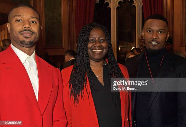 Michael B Jordan Marsha De Cordova MP and Jamie Foxx attend an evening at the House Of Lords for the upcoming film Just Mercy on January 14 2020 in...