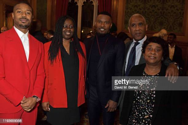 Michael B Jordan Marsha De Cordova MP Jamie Foxx Lord Simon Woolley and Baroness Doreen Lawrence attend an evening at the House Of Lords for the...