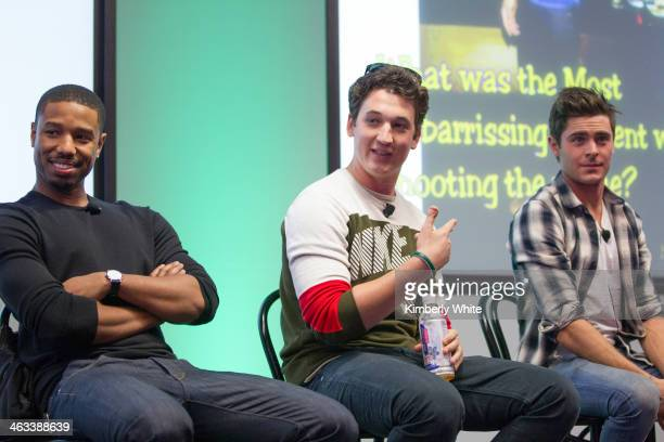 Michael B Jordan Miles Teller and Zac Efron talk to employees are interviewed at Facebook headquarters on January 14 2014 in San Francisco California