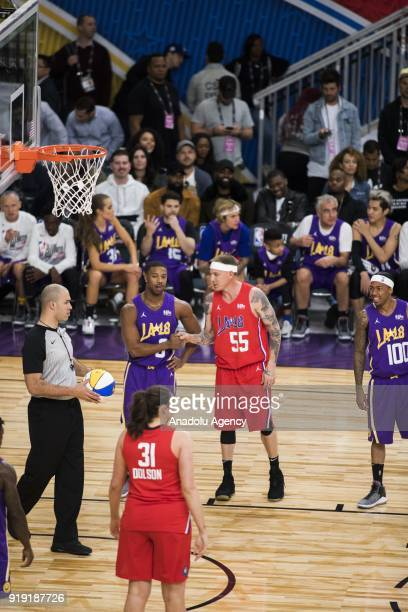 Michael B Jordan of Team Lakers greets Jason Williams of Team Clippers during the 2018 NBA AllStar Celebrity Game as part of AllStar Weekend at the...