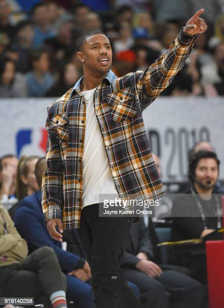 Michael B Jordan on the bench during the 2018 NBA AllStar Game Celebrity Game at Los Angeles Convention Center on February 16 2018 in Los Angeles...