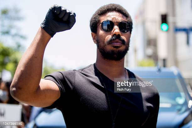 Michael B Jordan participates in the Hollywood talent agencies march to support Black Lives Matter protests on June 06 2020 in Beverly Hills...