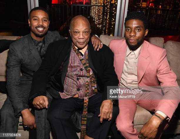 Michael B Jordan Quincy Jones and Chadwick Boseman attend the 2019 Vanity Fair Oscar Party hosted by Radhika Jones at Wallis Annenberg Center for the...