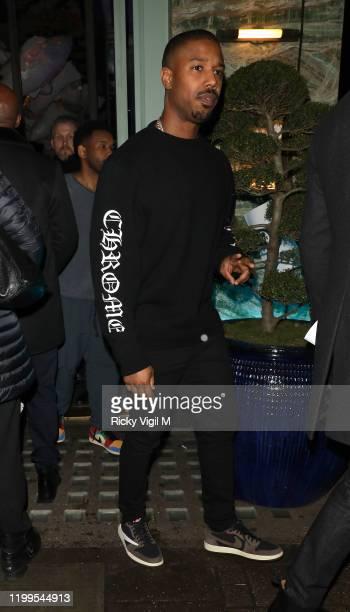 Michael B Jordan seen at Sexy Fish restaurant in Mayfair on January 14 2020 in London England