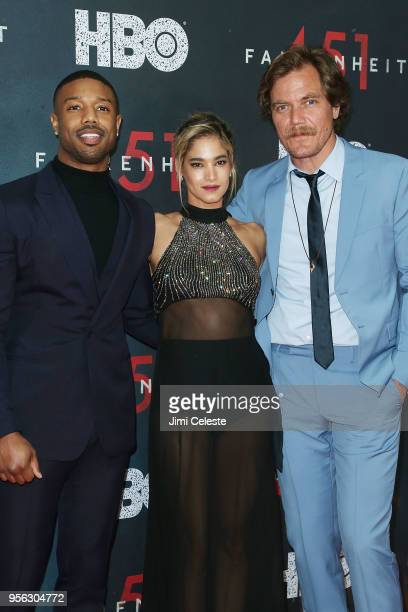 Michael B Jordan Sofia Boutella and Michael Shannon attend the New York premiere of Farenheit 451 at NYU Skirball Center on May 8 2018 in New York...