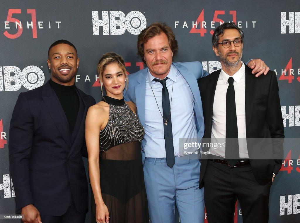 Michael B. Jordan, Sofia Boutella, Michael Shannon, and Ramin Bahrani attend the 'Fahrenheit 451' New York premiere at NYU Skirball Center on May 8, 2018 in New York City.