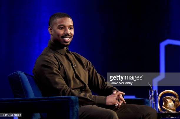 Michael B Jordan speaks during Oprah's SuperSoul Conversations at PlayStation Theater on February 05 2019 in New York City