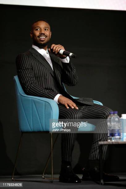 Michael B Jordan speaks onstage at a Screen Talk during the 63rd BFI London Film Festival at the Odeon Luxe Leicester Square on October 06 2019 in...