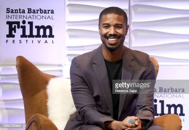 Michael B Jordan speaks onstage at the Cinema Vanguard Award Presented by Belvedere Vodka Honoring Michael B Jordan during the 34th Santa Barbara...