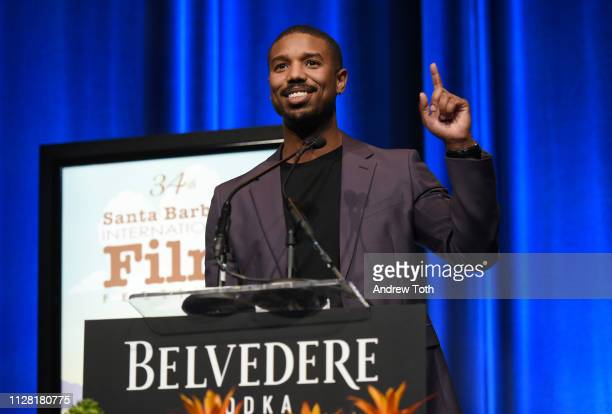 Michael B Jordan speaks onstage during Belvedere Vodka Celebrates Michael B Jordan's Cinema Vanguard Award at the 34th annual Santa Barbara...