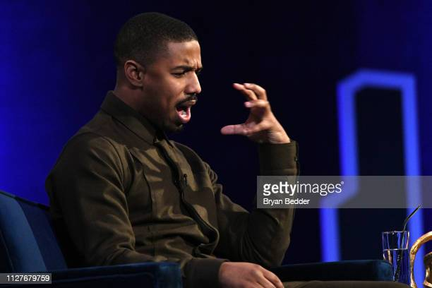 Michael B Jordan speaks onstage during Oprah's SuperSoul Conversations at PlayStation Theater on February 05 2019 in New York City