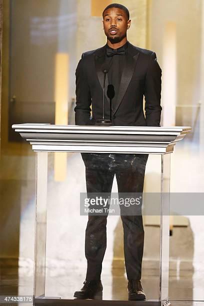 Michael B Jordan speaks onstage during the 45th NAACP Image Awards held at Pasadena Civic Auditorium on February 22 2014 in Pasadena California