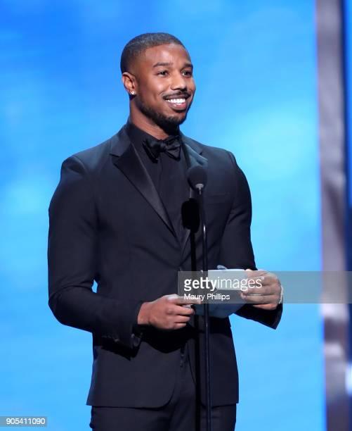 Michael B Jordan speaks onstage during the 49th NAACP Image Awards at Pasadena Civic Auditorium on January 15 2018 in Pasadena California