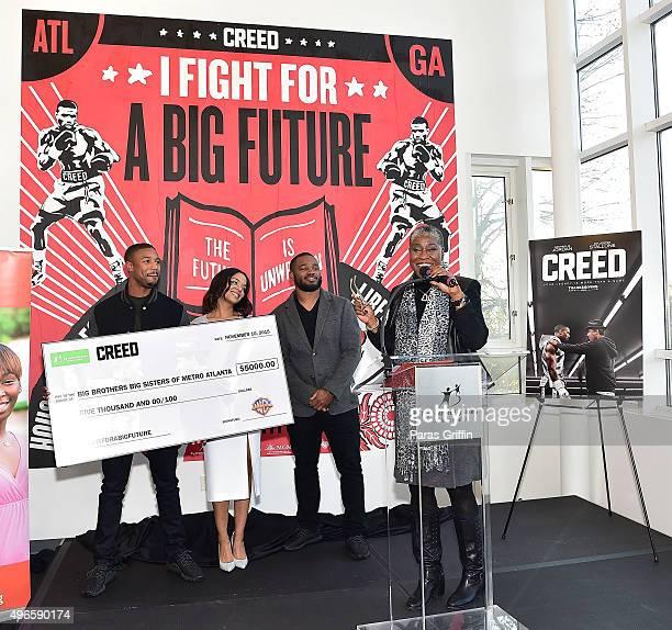 Michael B Jordan Tessa Thompson Ryan Coogler and Janice McKenzieCrayton onstage at Big Brothers Big Sisters I Fight For a Big Future Mural Dedication...
