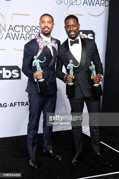 Michael B Jordan winner of Outstanding Performance by a Cast in a Motion Picture for 'Black Panther' and Sterling K Brown winner of Outstanding...