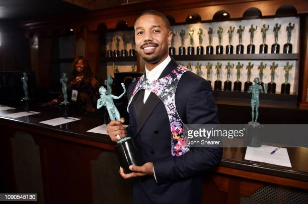 Michael B Jordan winner of Outstanding Performance by a Cast in a Motion Picture for 'Black Panther' attends the 25th Annual Screen Actors Guild...