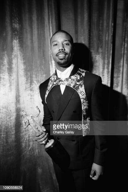 Michael B Jordan winner of Outstanding Performance by a Cast in a Motion Picture for 'Black Panther' poses in the press room during the 25th Annual...