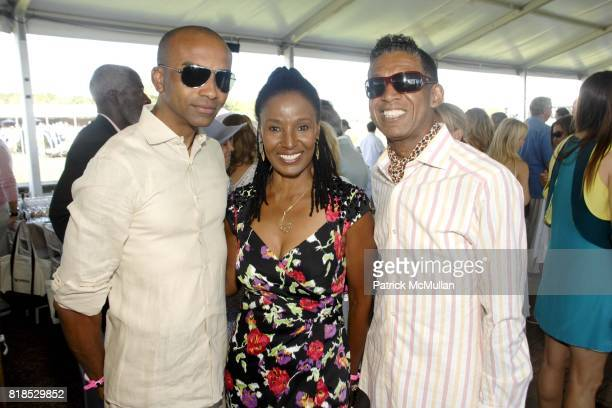 B Michael B Smith and Mark Anthony attend David Yurman hosts luncheon on Grand Prix Sunday at The Hampton Classic on September 5 2010 in...