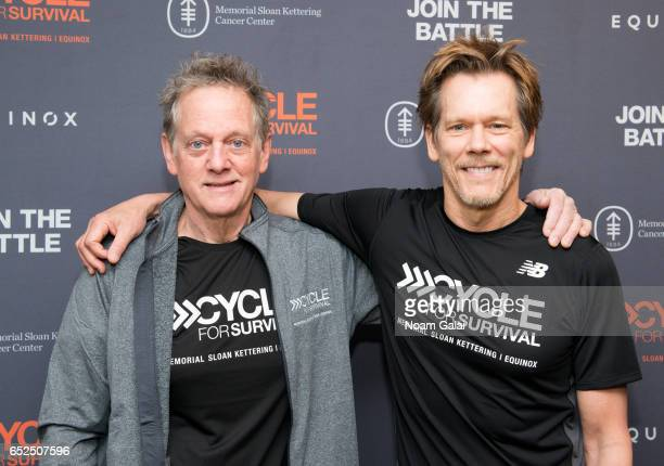 Michael Bacon and Kevin Bacon attend Cycle For Survival at Equinox Bryant Park on March 12 2017 in New York City