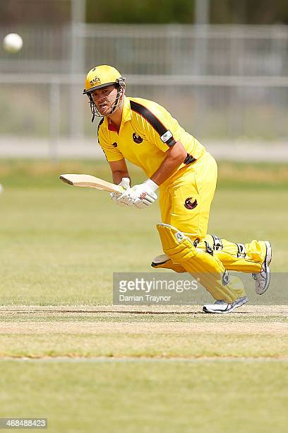 Michael Bailey of Western Australia plays a shot during the Imparja Cup match between Western Australia and Tasmania at the Jim Mconville Oval on...