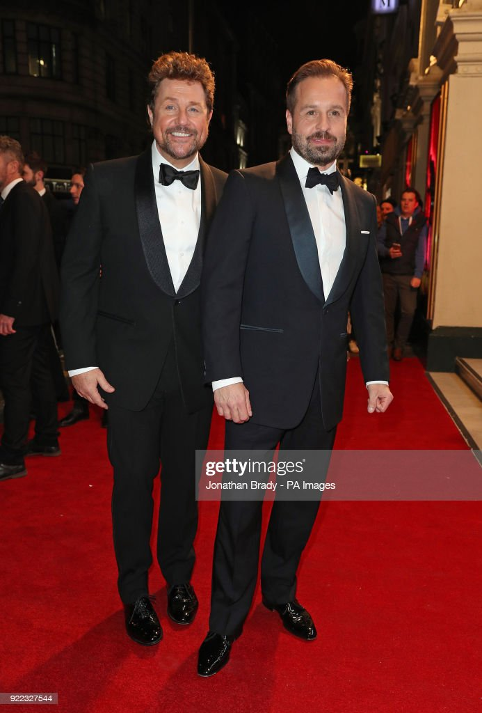 Michael Ball (left) and Alfie Boe arrive at the BBC event Bruce: A Celebration at the London Palladium, which will honour the life of the late entertainer Sir Bruce Forsyth.