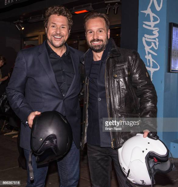 Michael Ball and Alfie Boe arrive at The Groucho Club on October 24 2017 in London England