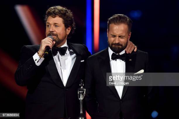 Michael Ball and Alfie Boe on stage during the 2018 Classic BRIT Awards held at Royal Albert Hall on June 13 2018 in London England