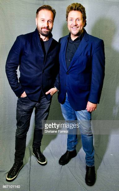 Michael Ball and Alfie Boe pose backstage after signing copies of their new album 'Together Again' at HMV Manchester on October 27 2017 in Manchester...