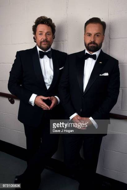 Michael Ball and Alfie Boe pose backstage during the Classic BRIT Awards rehearsals at Royal Albert Hall on June 13 2018 in London England