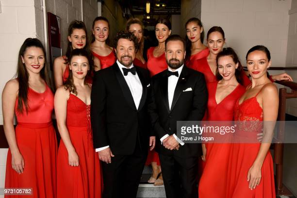 Michael Ball and Alfie Boe pose backstage with dancers during the Classic BRIT Awards rehearsals at Royal Albert Hall on June 13 2018 in London...