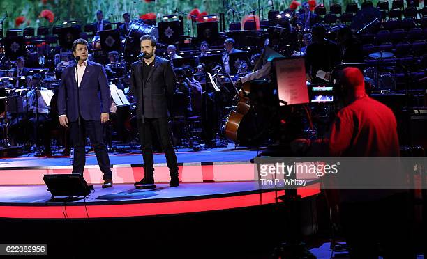 Michael Ball and Alfie Boe rehearse for their performance at the Royal British Legion's Festival of Rememberance at Royal Albert Hall on November 11...